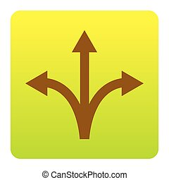 Three-way direction arrow sign. Vector. Brown icon at...