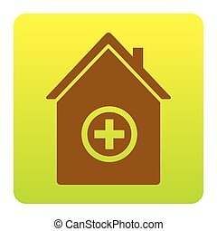 Hospital sign illustration. Vector. Brown icon at green-yellow gradient square with rounded corners on white background. Isolated.