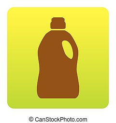 Plastic bottle for cleaning. Vector. Brown icon at...