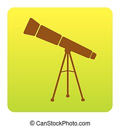 Telescope simple sign. Vector. Brown icon at green-yellow gradient square with rounded corners on white background. Isolated.