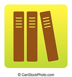 Row of binders, office folders icon. Vector. Brown icon at...