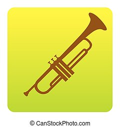 Musical instrument Trumpet sign. Vector. Brown icon at...