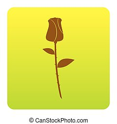 Rose sign illustration. Vector. Brown icon at green-yellow gradient square with rounded corners on white background. Isolated.