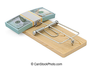 money trap with pack of dollars, 3D rendering