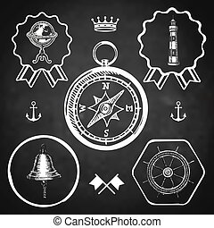 blackboard compass bell lighthouse marine nautical vintage navigation location icon flat web sign symbol logo label