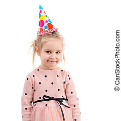 Girl in colorful cap hasher birthday, isolated
