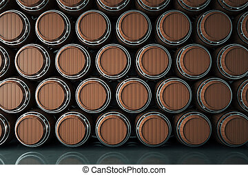 Winery background - Wooden wine barrels stacked in cellar....