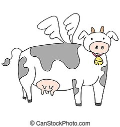Flying Cow Cartoon - An image of a flying cow cartoon with...