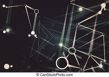 Connected dots and circles, technology concept