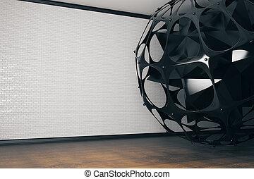 Black sphere in room