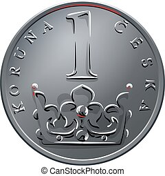 vector Money one czech crones coin reverse - Silver money,...