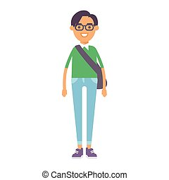 Boy portrait fun happy young expression cute teenager cartoon character