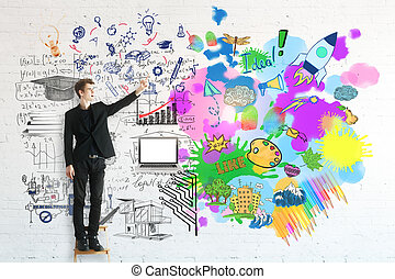 Creative and analytical thinking concept. Young businessman...
