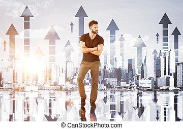 finanziario, concetto, crescita