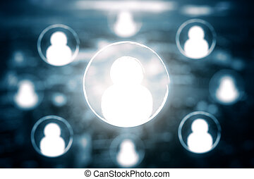 HR concept - Abstract interface with HR icons on blurry...