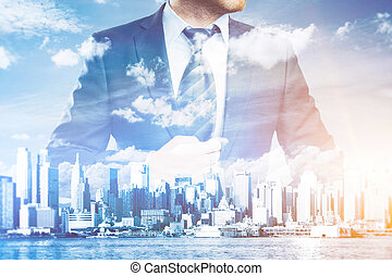 Success concept - Thoughtful businessman in suit and tie on...