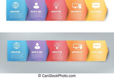 Infographics with 5 steps or options arrows vector -...