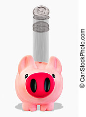 Piggy Bank Investment. - Pink piggy bank with silver coins...
