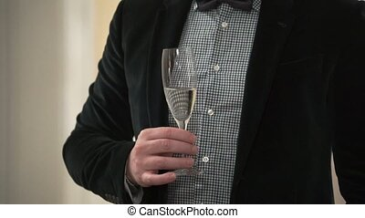 Man with a glass of champagne