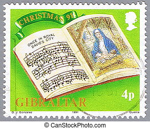Christmas Music - GIBRALTAR - CIRCA 1991: A stamp printed in...