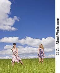 Two women on a field