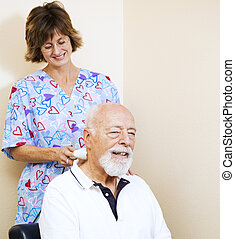 Sweet Pain Relief - Senior man gets pain relief from a...
