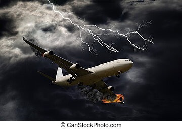 Cinematic Portrayal of Airplane With Engine Fire - Cinematic...