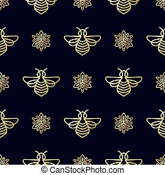Seamless pattern with gold Bee - Seamless pattern with...