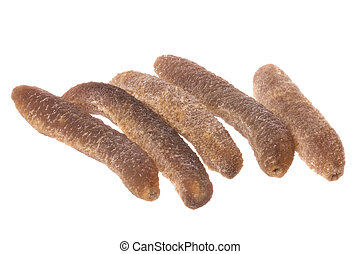 Dried Sea Cucumbers Isolated - Isolated macro image of dried...
