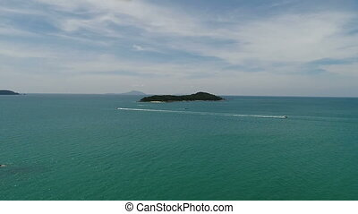 Aerial view of the Andaman sea and small island from beach in Phuket