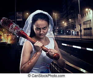 Bride maniac with bloody baseball bat night city on...