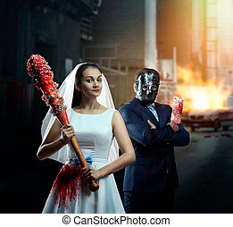 Couple with bat and meat cleaver in night city - Maniac...