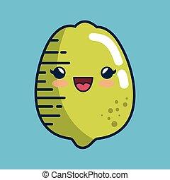 lemon fresh fruit character handmade drawn vector...