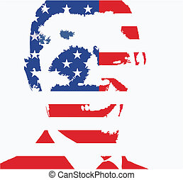 Obama flag - vecttor illustration - Obama illustration with...