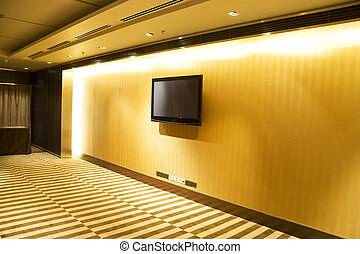 Flat Screen Television on Wall - Image of a flat screen...