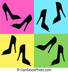 hig heels - seamless shoe pattern on four different...