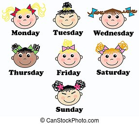 week days - illustration of seven mixed girls