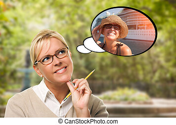 Thoughtful Young Woman with Herself Near Cruise Ship in...