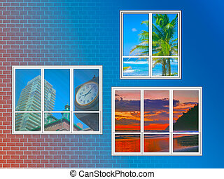 travel - three windows with different desinations views on...