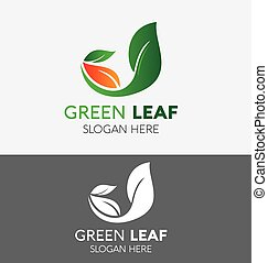 Green Plant Abstract Logo circle shape design vector template. Natural Organic Eco Farm products Logotype concept icon