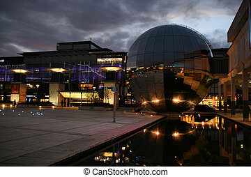 Modern Bristol - Evening view of famous Millennium Square in...