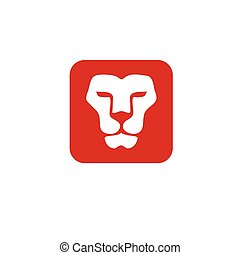 Lion head square vector- vector sign concept illustration....