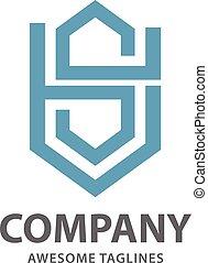 Abstract letter SH logo,letter AS letter S alphabet symbol...