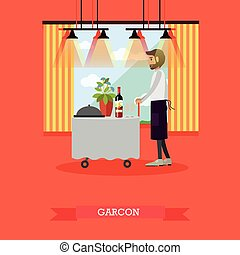 Vector illustration of waiter standing at table in flat...