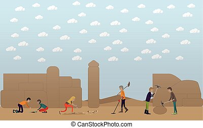 Archaeological excavation concept vector illustration in...