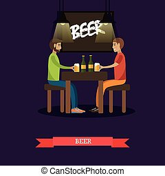 People drinking beer concept vector illustration in flat style