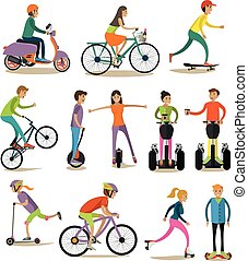 Vector set of modern street, sport transport concept design...