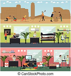 Vector set of archaeologists concept posters, banners, flat...