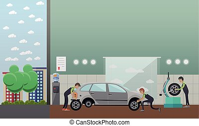 Tire change, auto service concept vector illustration in...