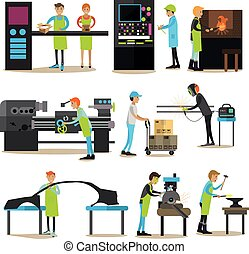 Vector flat icons set of factory production workers - Vector...